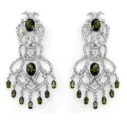 17.30 CTW Green Tourmaline & Diamond Earrings 18K White Gold - REF-533K8W - 11172