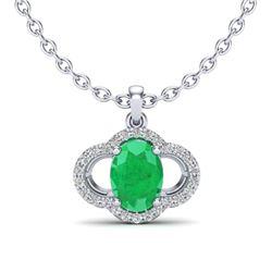 2 CTW Emerald & Micro Pave VS/SI Diamond Necklace 10K White Gold - REF-30X2T - 20630