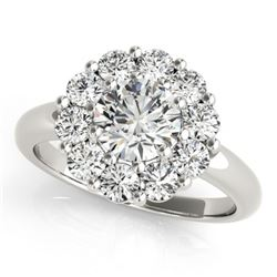 1.38 CTW Certified VS/SI Diamond Solitaire Halo Ring 18K White Gold - REF-226T2M - 27012