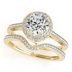1.80 CTW Certified VS/SI Diamond 2Pc Wedding Set Solitaire Halo 14K Yellow Gold - REF-422N2Y - 30815