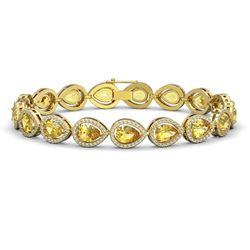 15.91 CTW Fancy Citrine & Diamond Halo Bracelet 10K Yellow Gold - REF-276N2Y - 41134