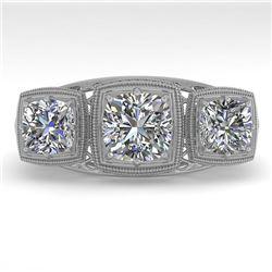 2 CTW Past Present Future VS/SI Cushion Cut Diamond Ring Deco 18K White Gold - REF-481T6M - 36072