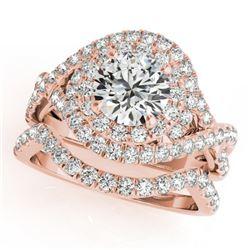 2.01 CTW Certified VS/SI Diamond 2Pc Wedding Set Solitaire Halo 14K Rose Gold - REF-425K8W - 31035