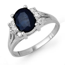 2.14 CTW Blue Sapphire & Diamond Ring 18K White Gold - REF-42Y8K - 13913