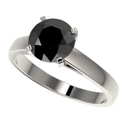 2.15 CTW Fancy Black VS Diamond Solitaire Engagement Ring 10K White Gold - REF-47H5A - 36555
