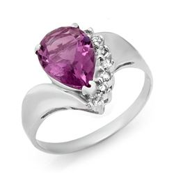1.67 CTW Amethyst & Diamond Ring 18K White Gold - REF-28W4F - 12474