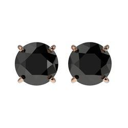 1.50 CTW Fancy Black VS Diamond Solitaire Stud Earrings 10K Rose Gold - REF-35N3Y - 33073