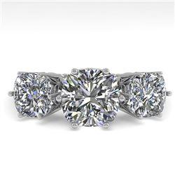 2.0 CTW Past Present Future Certified VS/SI Cushion Diamond Ring 18K White Gold - REF-414H2A - 35919