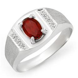 2.0 CTW Garnet Men's Ring 10K White Gold - REF-19Y8K - 12413