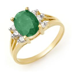 2.03 CTW Emerald & Diamond Ring 14K Yellow Gold - REF-45H5A - 13567