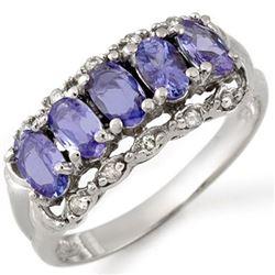 1.80 CTW Tanzanite & Diamond Ring 10K White Gold - REF-28M9H - 10677