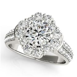 2.16 CTW Certified VS/SI Diamond Solitaire Halo Ring 18K White Gold - REF-461H8A - 26709