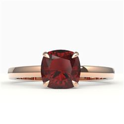 1.50 CTW Cushion Cut Garnet Designer Engagement Ring 14K Rose Gold - REF-20N8Y - 22142