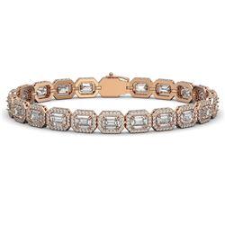 16.72 CTW Emerald Cut Diamond Designer Bracelet 18K Rose Gold - REF-3553K8W - 42753