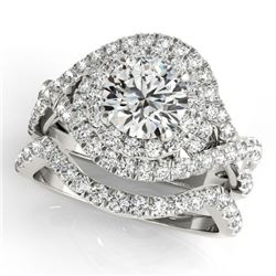 1.76 CTW Certified VS/SI Diamond 2Pc Wedding Set Solitaire Halo 14K White Gold - REF-251H3A - 31031