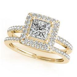 1.76 CTW Certified VS/SI Princess Diamond 2Pc Set Solitaire Halo 14K Yellow Gold - REF-444M2H - 3135