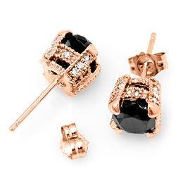 2.0 CTW VS Certified Black & White Diamond Solitaire Stud Earrings 14K Rose Gold - REF-64M2H - 11851