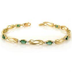 2.02 CTW Emerald & Diamond Bracelet 10K Yellow Gold - REF-26A2X - 10176