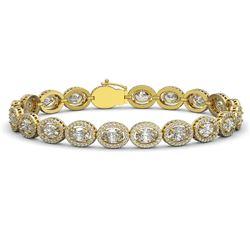15.20 CTW Oval Diamond Designer Bracelet 18K Yellow Gold - REF-2801T3M - 42709
