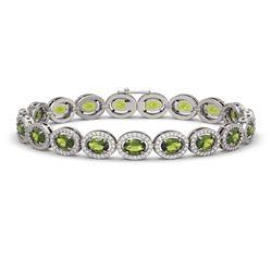 13.87 CTW Tourmaline & Diamond Halo Bracelet 10K White Gold - REF-271H6A - 40472
