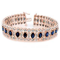 18.50 CTW Blue Sapphire & Diamond Bracelet 14K Rose Gold - REF-440N9Y - 11718