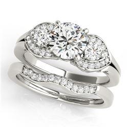 1.8 CTW Certified VS/SI Diamond 3 Stone 2Pc Wedding Set 14K White Gold - REF-521N3Y - 32018