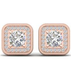 2 CTW Certified VS/SI Diamond Art Deco Micro Halo Stud Earrings 14K Rose Gold - REF-224W4F - 30499