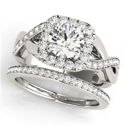 2 CTW Certified VS/SI Diamond 2Pc Wedding Set Solitaire Halo 14K White Gold - REF-413K8W - 30651