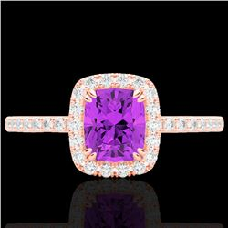 1.25 CTW Amethyst & Micro Pave VS/SI Diamond Halo Ring 10K Rose Gold - REF-34F5N - 22896