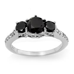 1.95 CTW VS Certified Black & White Diamond Ring 14K White Gold - REF-63W8F - 14062