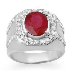 4.75 CTW Ruby & Diamond Men's Ring 10K White Gold - REF-118X2T - 14500