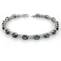 11.0 CTW Blue Sapphire Bracelet 18K White Gold - REF-107T3M - 11563