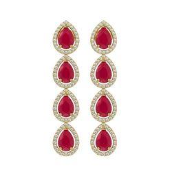 10.2 CTW Ruby & Diamond Halo Earrings 10K Yellow Gold - REF-155K5W - 41143