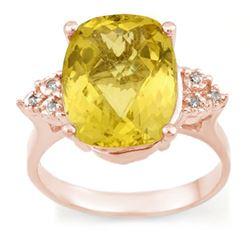6.10 CTW Lemon Topaz & Diamond Ring 10K Rose Gold - REF-31M8H - 10938