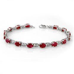 8.40 CTW Ruby Bracelet 10K White Gold - REF-69A3X - 13989