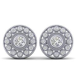 1.11 CTW Certified VS/SI Diamond Art Deco Stud Earrings 14K White Gold - REF-134A5X - 30465