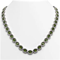 49.46 CTW Tourmaline & Diamond Halo Necklace 10K White Gold - REF-763X6T - 40574