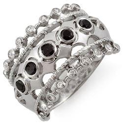 0.75 CTW VS Certified Black & White Diamond Ring 10K White Gold - REF-53T3M - 11736