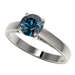 1.25 CTW Certified Intense Blue SI Diamond Solitaire Engagement Ring 10K White Gold - REF-147M8H - 3