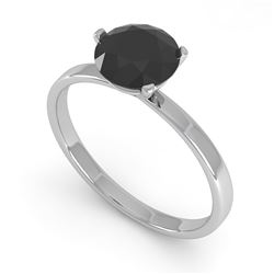 1.0 CTW Black Certified Diamond Engagement Ring Martini 18K White Gold - REF-50H2A - 32232