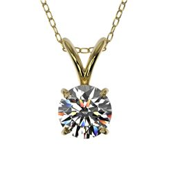 0.55 CTW Certified H-SI/I Quality Diamond Solitaire Necklace 10K Yellow Gold - REF-51Y2K - 36725