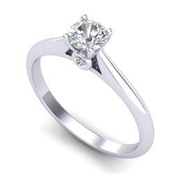 0.4 CTW VS/SI Diamond Solitaire Art Deco Ring 18K White Gold - REF-58M2H - 37277