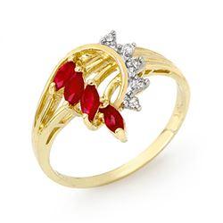0.55 CTW Ruby & Diamond Ring 14K Yellow Gold - REF-26T2M - 12947