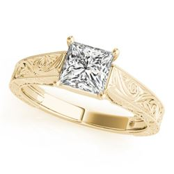 0.5 CTW Certified VS/SI Princess Diamond Ring 18K Yellow Gold - REF-125Y3K - 28121