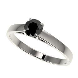 0.50 CTW Fancy Black VS Diamond Solitaire Engagement Ring 10K White Gold - REF-19X3T - 32955