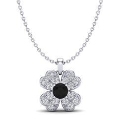 0.27 CTW Micro Pave VS/SI Diamond Necklace 18K White Gold - REF-26F5N - 20354
