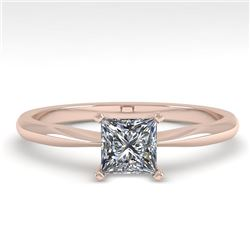 0.52 CTW Princess Cut VS/SI Diamond Engagement Designer Ring 18K Rose Gold - REF-98W4F - 32390