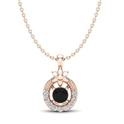 0.24 CTW Black & Micro Pave VS/SI Diamond Halo Solitaire Necklace 14K Rose Gold - REF-17T8M - 20358