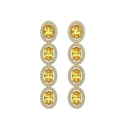 5.4 CTW Fancy Citrine & Diamond Halo Earrings 10K Yellow Gold - REF-102W2F - 40546