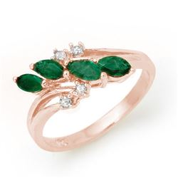 0.40 CTW Emerald & Diamond Ring 18K Rose Gold - REF-38X4T - 13084